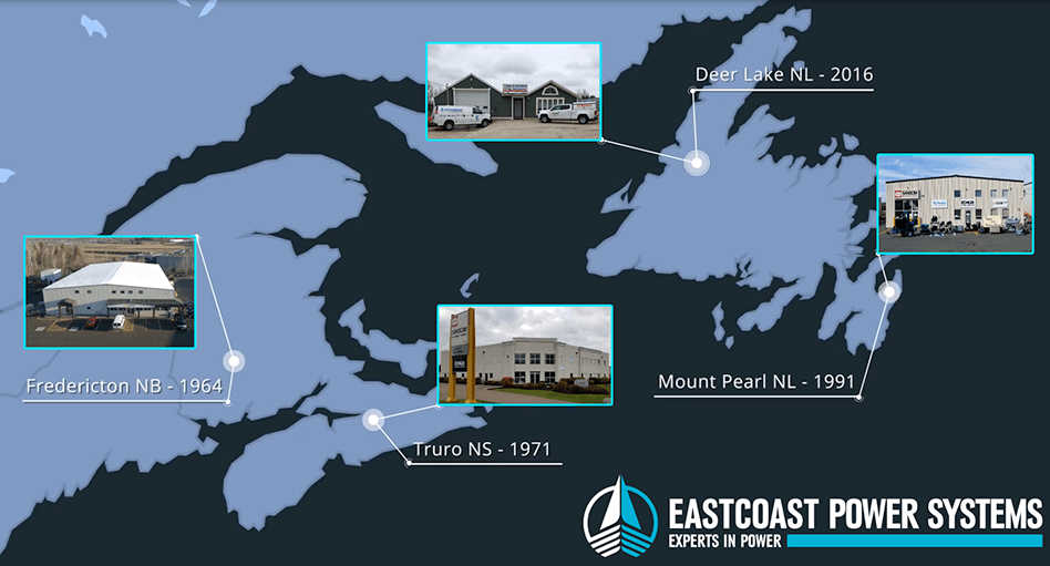 map of Eastcoast Power Systems facility locations in Atlantic Canada